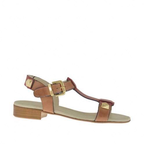 Woman's sandal with studs in red and tan-colored leather heel 2 - Available sizes:  33