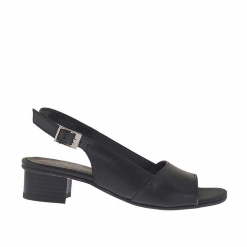 Woman's sandal in black leather heel 3 - Available sizes:  34