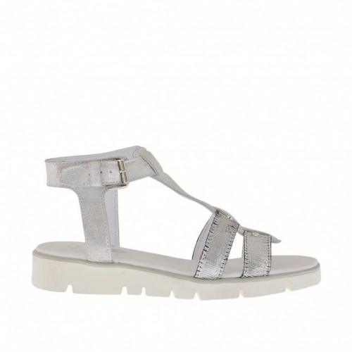 Woman's open strapshoe in silver laminated leather and cutted fabric wedge heel 2.5 - Available sizes:  32