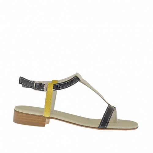 Woman's thong sandal in black, yellow and ivory patent leather heel 2 - Available sizes:  32, 42