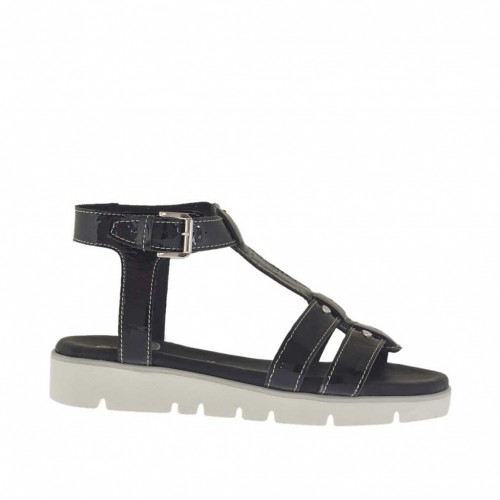 Woman's strap sandal with studs in black patent leather wedge heel 2.5 - Available sizes:  34