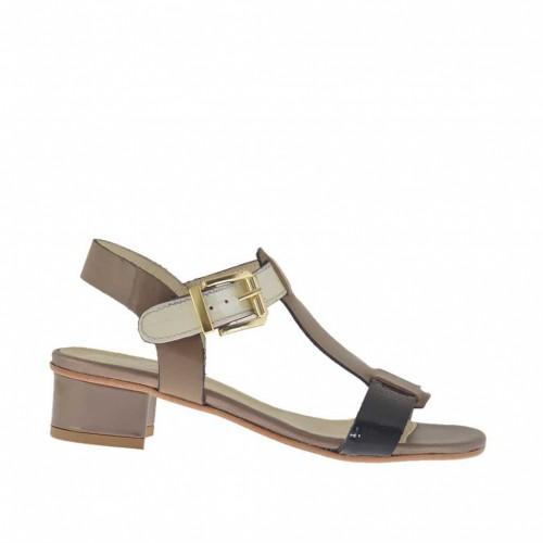 Sandale pour femmes en cuir vernis noir, marron et ivoire talon 3 - Pointures disponibles:  44
