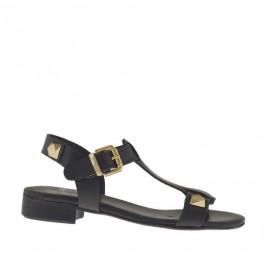 Sandalo da donna con borchie in pelle nera tacco 2 - Misure disponibili: 32