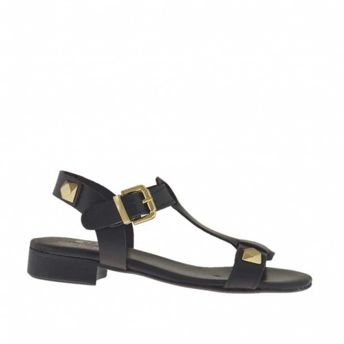 Woman's sandal with studs in black leather heel 2 - Available sizes:  32