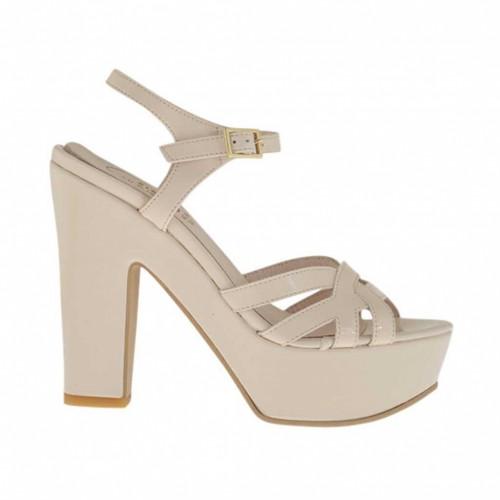 Sandale pour femmes avec courroie et plateforme en verni beige poudre talon 11 - Pointures disponibles:  43