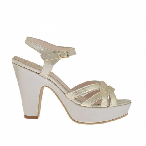 Woman's platinum and taupe varnished platform sandal with strap heel 9 - Available sizes:  43, 44