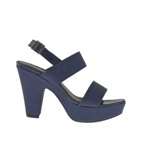 Woman's blue printed and varnished platform sandal heel 9 - Available sizes:  45