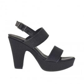 Sandalo da donna in stampato e vernice nera con plateau e tacco 9 - Misure disponibili: 31, 43, 46