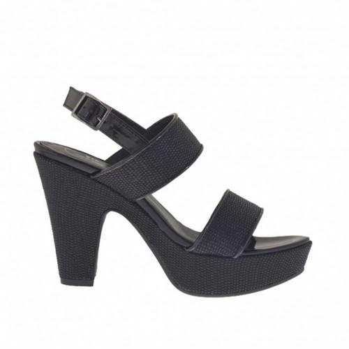 Woman's black printed and varnished platform sandal heel 9 - Available sizes:  31