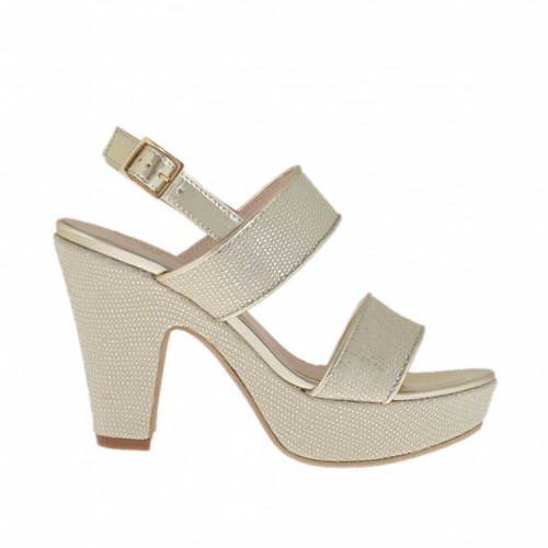 Woman's platinum printed and varnished platform sandal heel 9 - Available sizes:  46