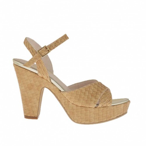 Braided and printed light tan woman's strap sandal with platform and heel 9 - Available sizes:  43, 46