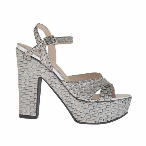 Braided and printed silver woman's sandal with strap, platform and heel 11 - Available sizes:  43