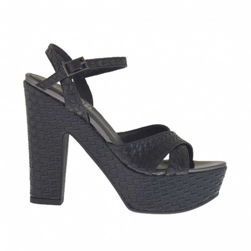 Braided and printed black woman's sandal with strap, platform and heel 11 - Available sizes:  43