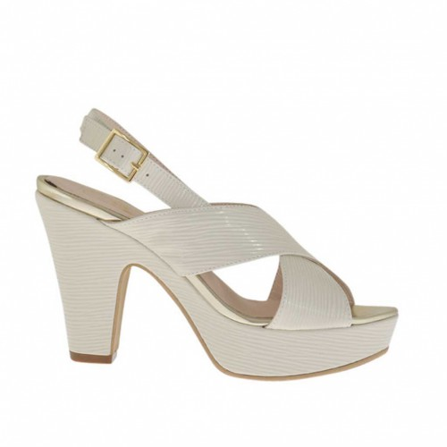 Woman's platform sandal in light beige printed varnish with strap heel 9 - Available sizes:  43, 46