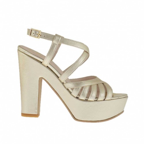 Woman's platinum printed sandal with crossed strap, platform and heel 11 - Available sizes:  43