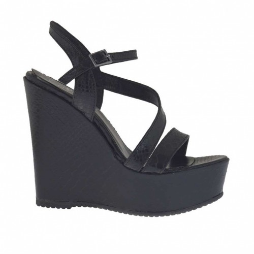 Printed and varnished black woman's strap sandal with coated platform and wedge 11 - Available sizes:  43, 44