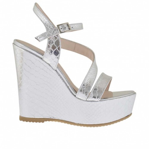 Woman's strap sandal in silver laminated and printed varnish with coated platform and wedge 11 - Available sizes:  42, 43