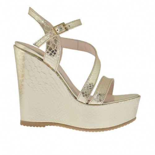 Woman's strap sandal in platinum laminated and printed varnish with coated platform and wedge 11 - Available sizes:  42, 43