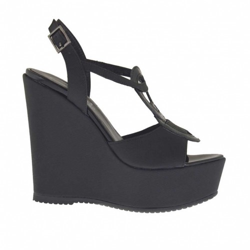 Printed black woman's sandal with platform and wedge 11 - Available sizes:  43