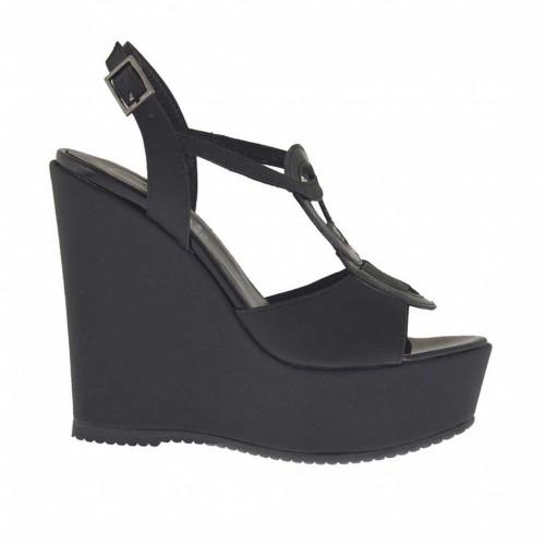 Sandale pour femmes imprimé noir avec plateforme et talon compensé 11 - Pointures disponibles:  43