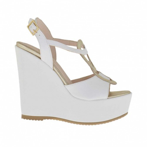 Printed white and platinum woman's sandal with platform and wedge 11 - Available sizes:  43