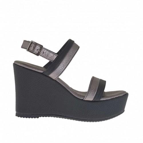 Sandale pour femmes noir et bronze à canon avec plateforme et talon compensé 9 - Pointures disponibles:  42, 43