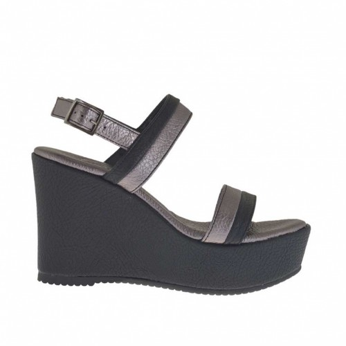 Woman's black and gunmetal sandal with platform and wedge 9 - Available sizes:  42, 43