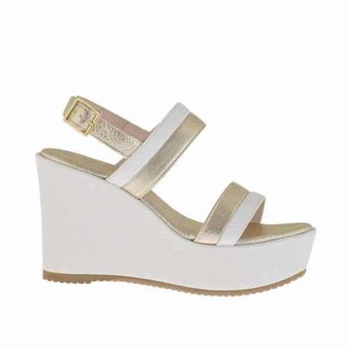 Woman's white and platinum sandal with platform and wedge 9 - Available sizes:  42, 43