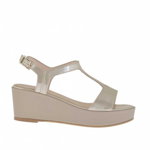 Taupe and varnished light beige woman's sandal with coated platform and wedge 5 - Available sizes:  42