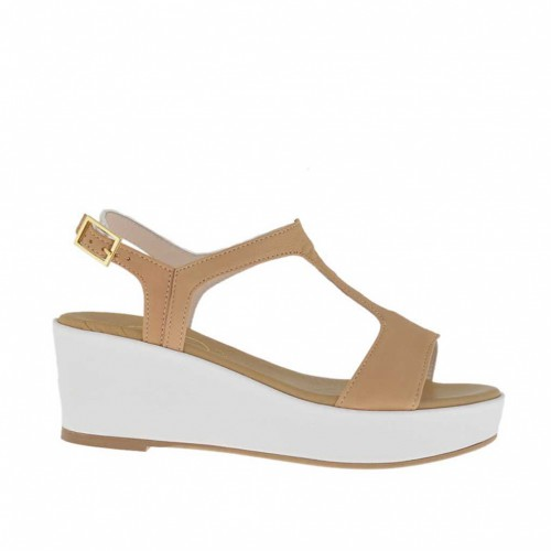 Tan-colored and white printed woman's sandal with coated platform and wedge 5 - Available sizes:  46
