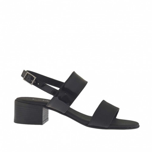 Woman's black printed and varnished sandal heel 4 - Available sizes:  46