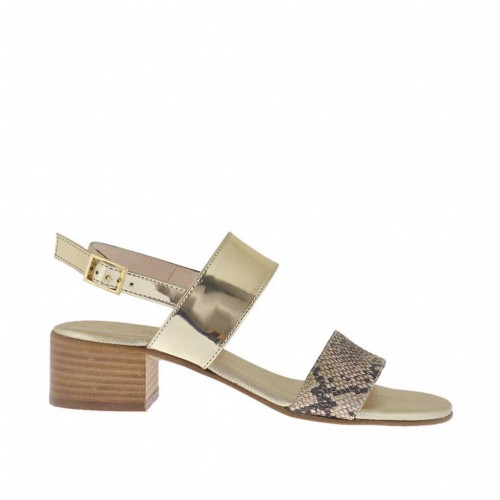 Woman's black, beige and taupe printed and platinum varnished sandal heel 4 - Available sizes:  31, 44