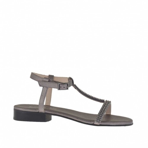 Woman's gunmetal-colored sandal with rhinestones heel 2 - Available sizes:  46