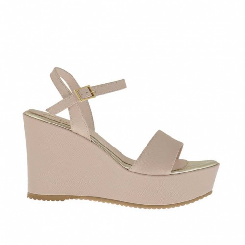 Printed powder beige strap sandal for woman with platform and wedge heel 9 - Available sizes:  43, 46
