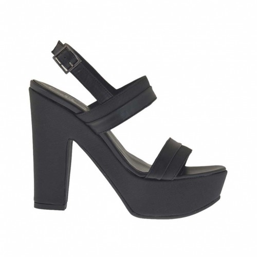 Woman's black and printed platform sandal heel 11 - Available sizes:  42, 43
