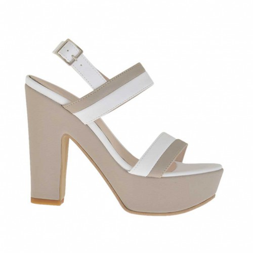 Woman's taupe  and white printed platform sandal heel 11 - Available sizes:  43
