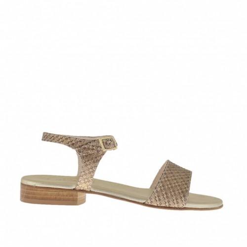 Sandale pour femmes imprimé bronze avec courroie et talon 2 - Pointures disponibles:  32