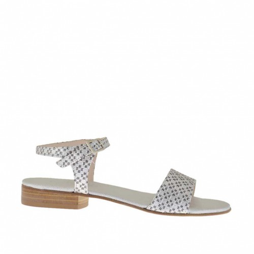 Printed silver woman's strap sandal heel 2 - Available sizes:  33, 45, 46