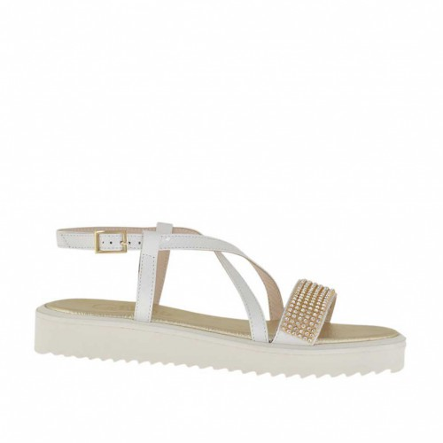 Woman's white printed sandal with rhinestones wedge heel 3 - Available sizes:  31