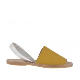 Sandalo da donna stampato giallo e argento tacco 1 - Misure disponibili: 32, 33, 34, 42