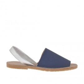 Sandalo da donna stampato blu e argento tacco 1 - Misure disponibili: 32, 33, 34, 42