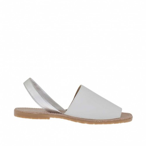 Woman's white and silver printed sandal heel 1 - Available sizes:  32, 34