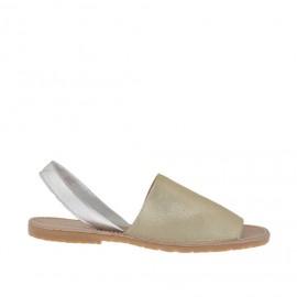 Sandalo da donna stampato platino e argento tacco 1 - Misure disponibili: 33, 34