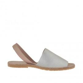 Sandalo da donna stampato cipria e argento tacco 1 - Misure disponibili: 32, 33, 34