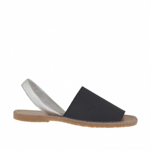 Woman's black and silver printed sandal heel 1 - Available sizes:  32, 42