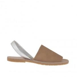 Sandalo da donna stampato cuoio e argento tacco 1 - Misure disponibili: 32, 42