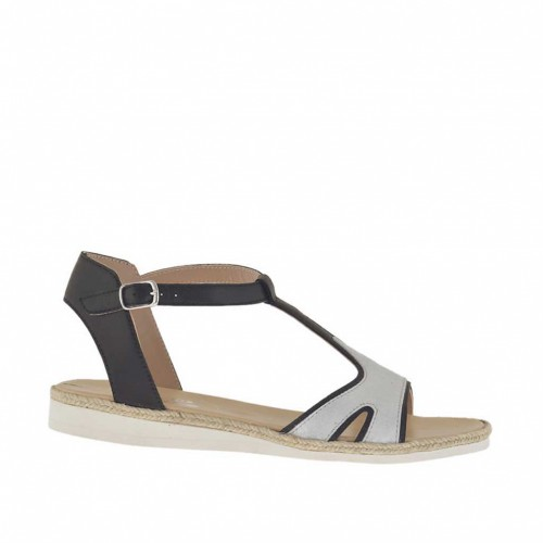 Woman's sandal in black leather and silver laminated suede with rope and rubber wedge heel 1.5 - Available sizes:  45