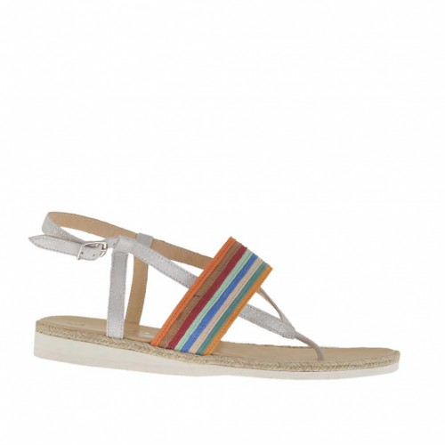 Woman's thong sandal in silver laminated ice-colored suede and multicolored nubuck leather with rope and rubber wedge heel 1.5 - Available sizes:  33, 42