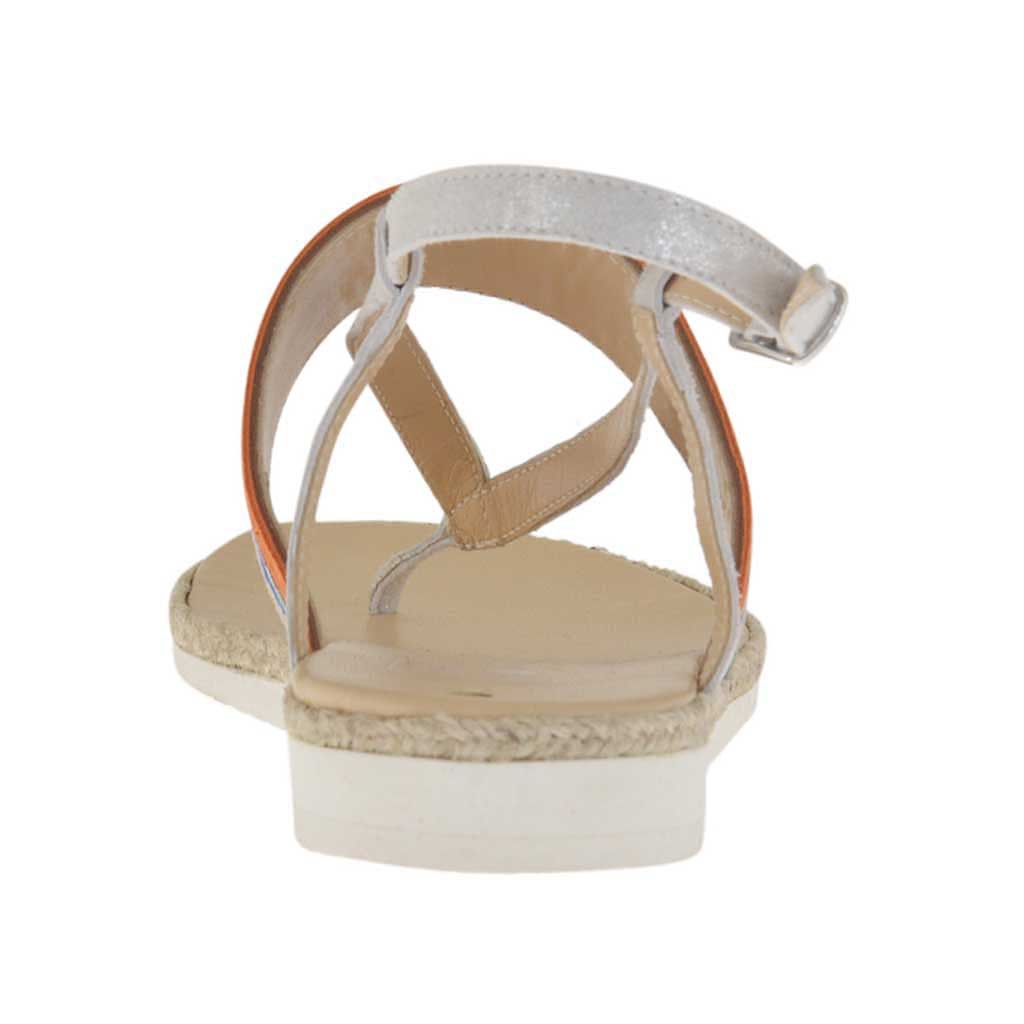 25bdb58de358 ... Woman s thong sandal in silver laminated ice-colored suede and multicolored  nubuck leather with rope ...