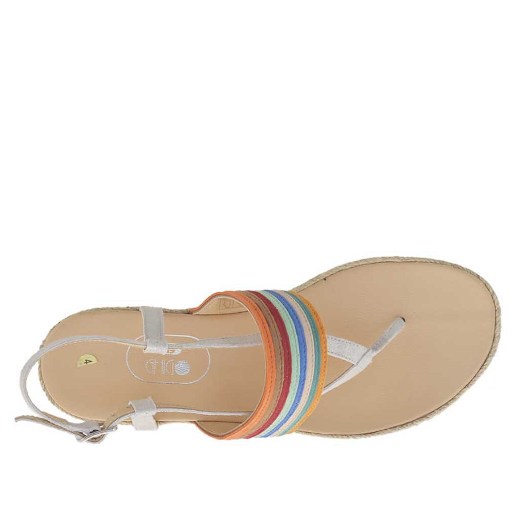 06fca8b96be2 ... Woman s thong sandal in silver laminated ice-colored suede and multicolored  nubuck leather with rope